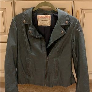 Forest green faux leather jacket